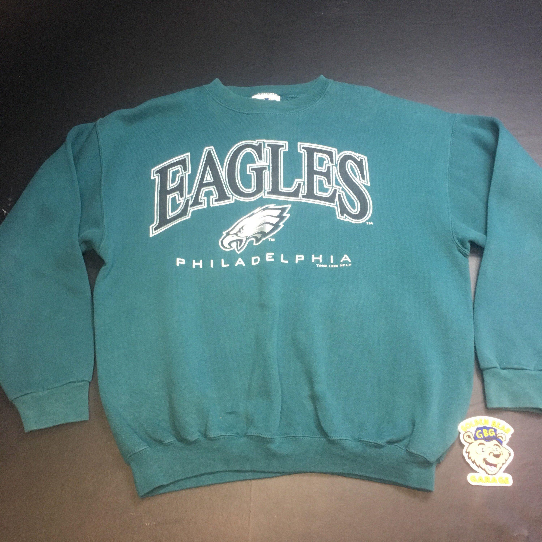 Vintage Mens Large Logo Arhletics Green Philadelphia Eagles Etsy Sweatshirts Crew Neck Sweatshirt Men [ 3000 x 3000 Pixel ]