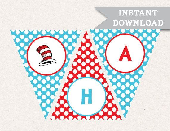 dr seuss happy birthday banner printable free party in 2018