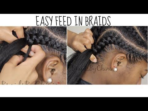 DETAILED Easy Feed In Braid Tutorial [Video | Braid tutorials, Black ...