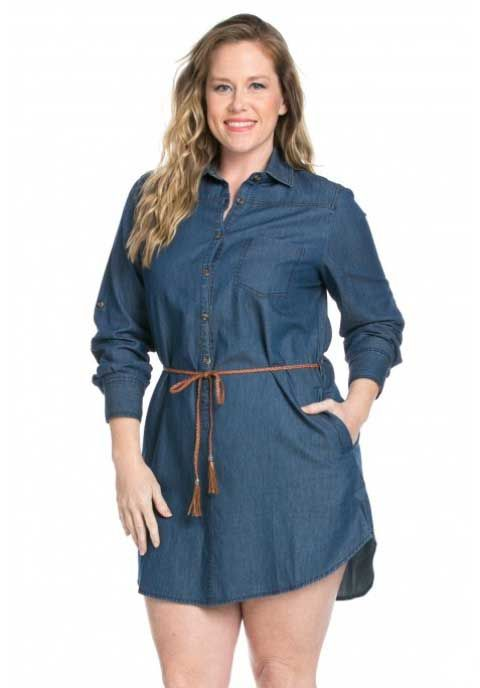 Bottlette Plus Size Denim Tunic Dress | Round, midi, Tulle skirts ...