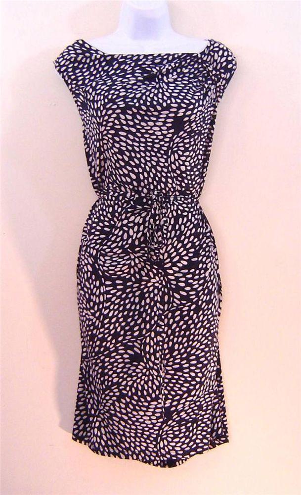 Ann Taylor Loft Dress XL Stretch Jersey Navy Blue Knee Length ...