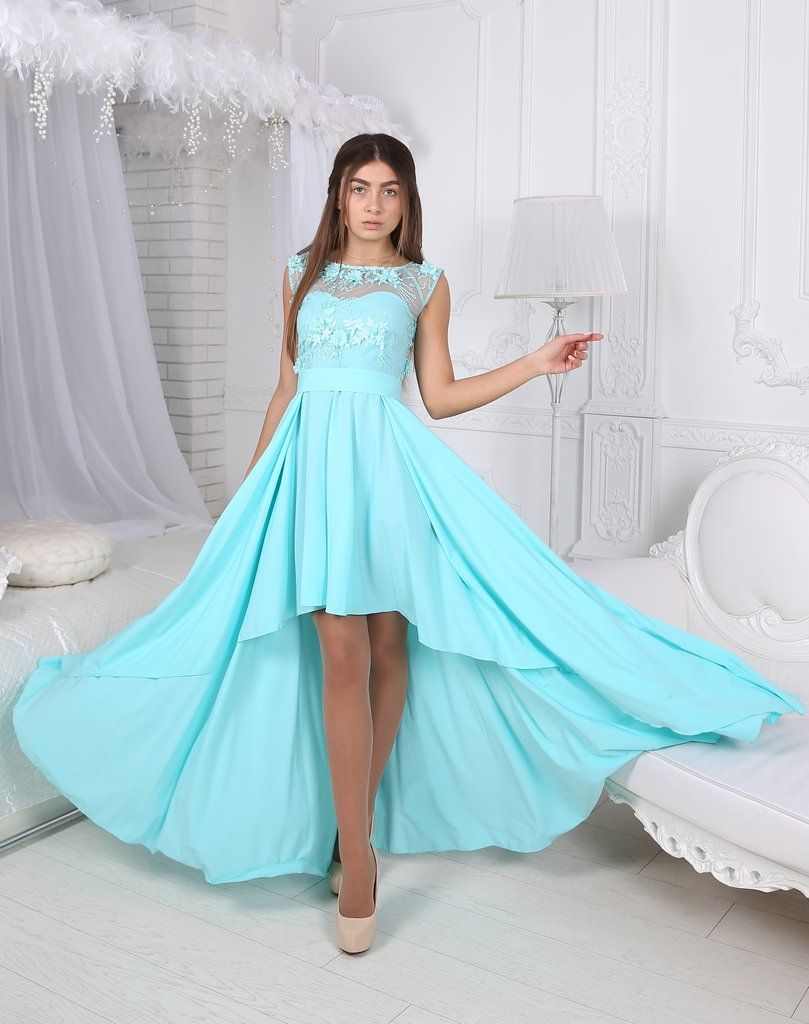 Green dress short in front long in back  Ivey Evening Dress  Long blue dress with embellished sequin top and