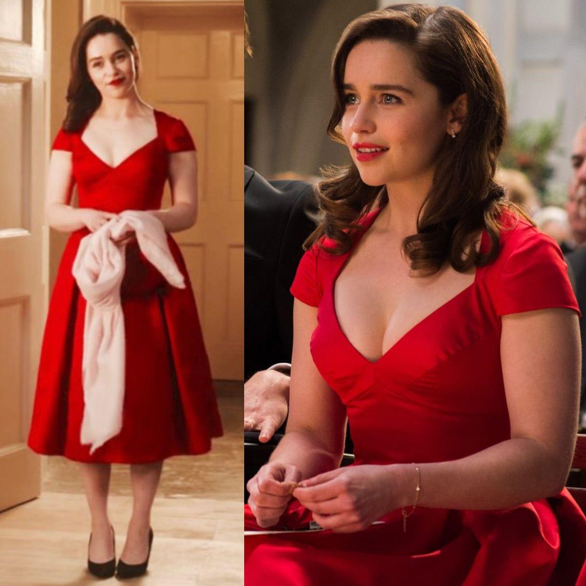 emilia clarke rote cap sleeves kurzes partykleid in film me