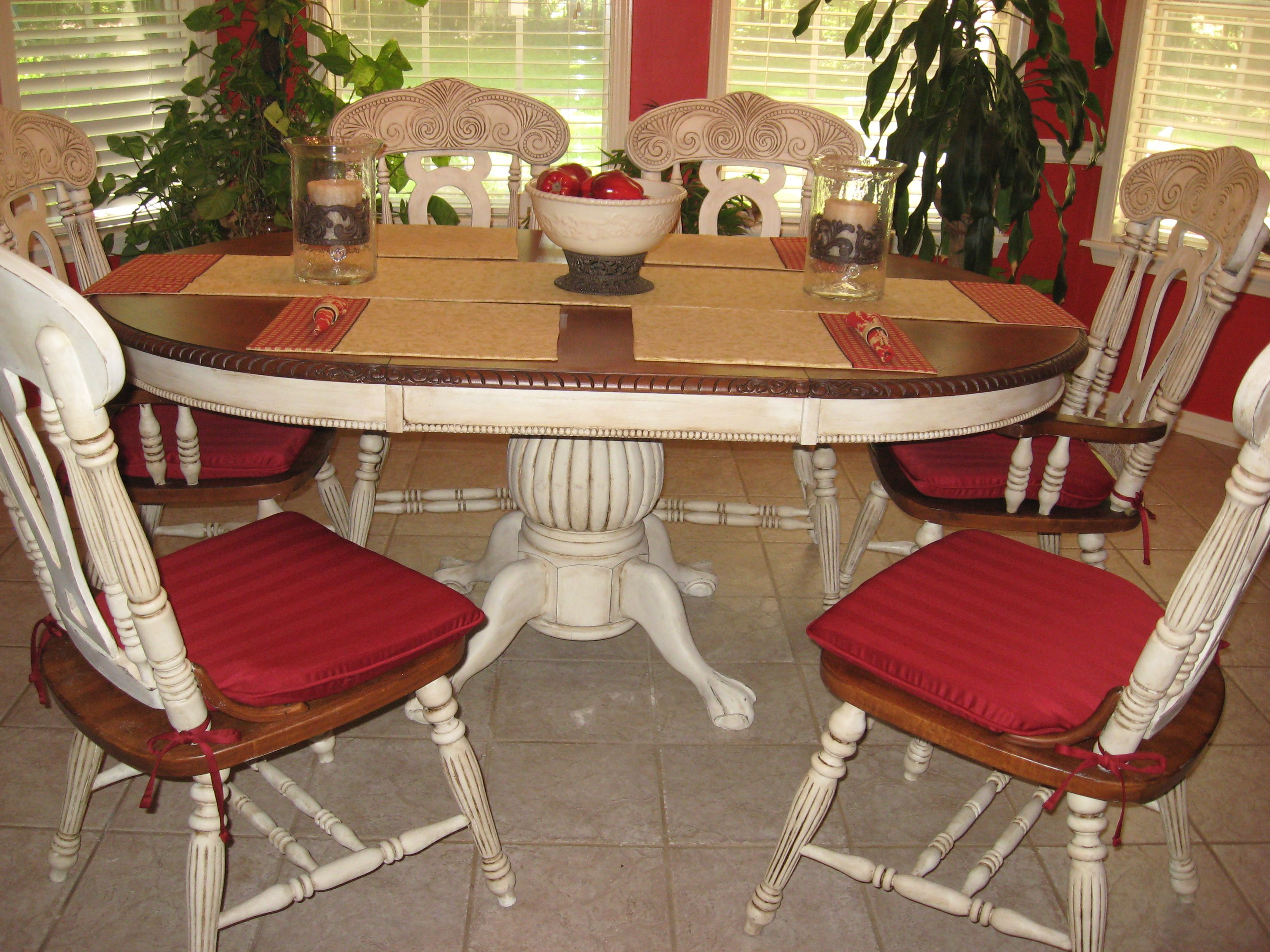 Distressed my dining room table and chairs with annie for Distressed white dining table