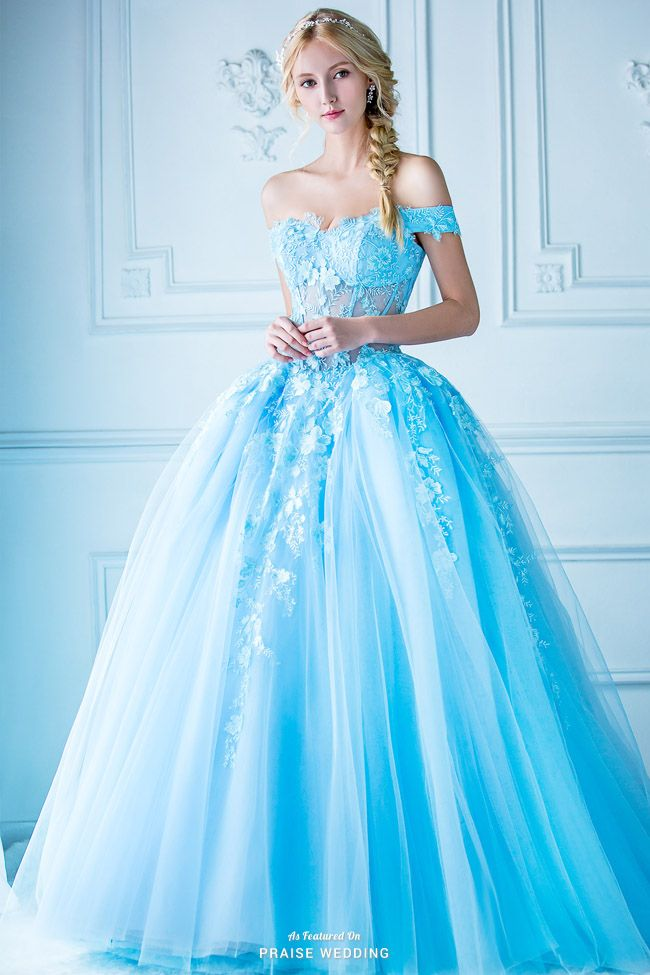 A jaw-droppingly beautiful blue ball gown from Digio Bridal ...