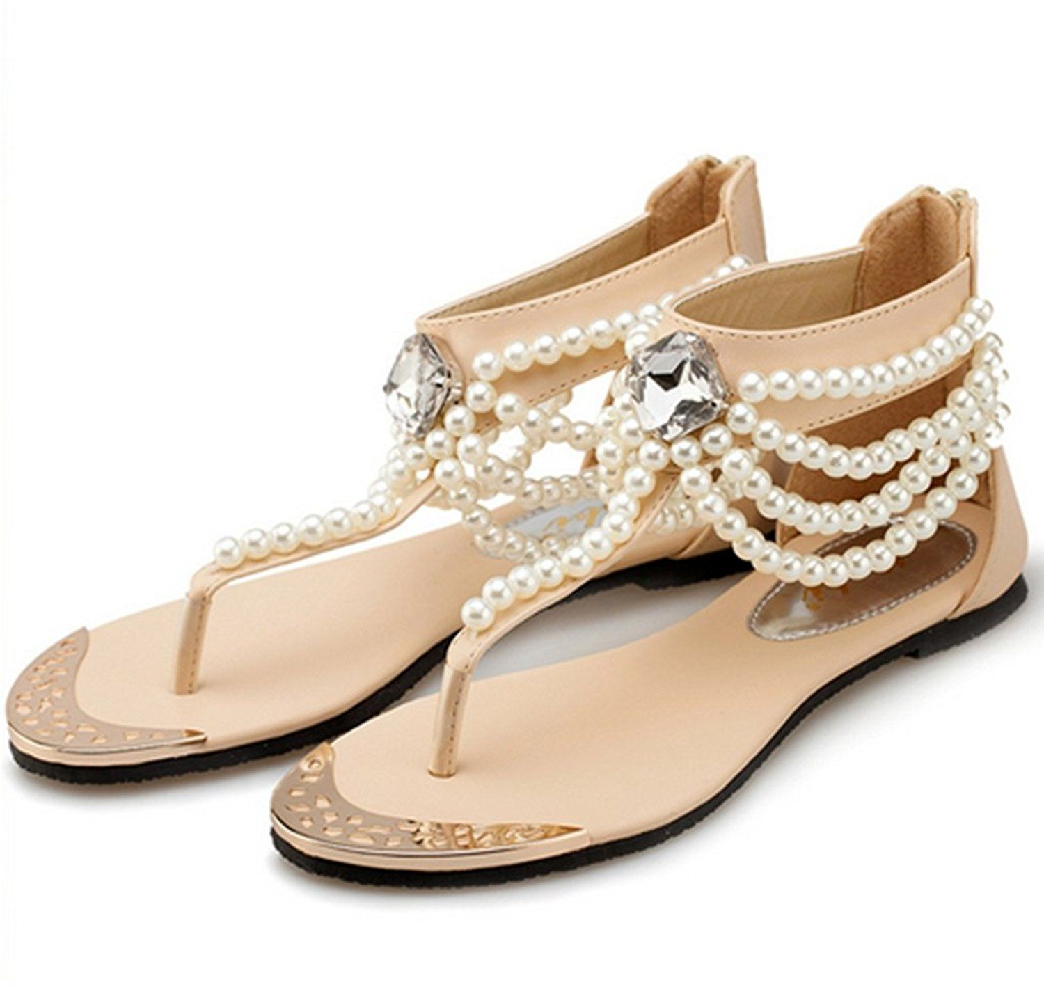 VogueZone009 Girls Open Toe PU Soft Material Solid Sandals with Bowknot and Metal Chain