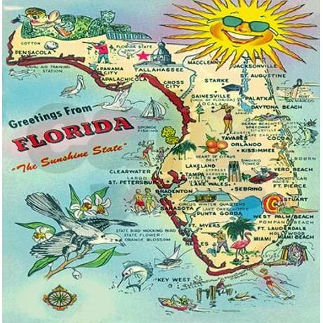 Florida State Map.Vintage Florida Greetings Map Shower Curtain Florida Florida