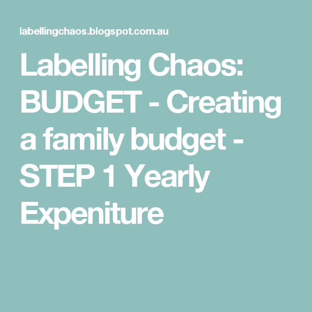 Creating A Family Budget