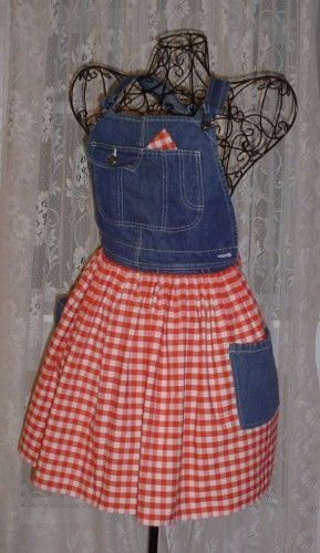 Country Cookin Apron  made from cotton gingham and repurposed overalls