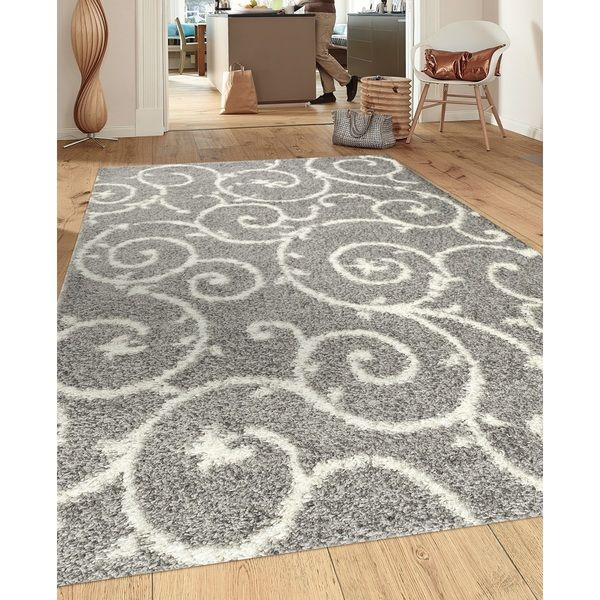 This Power Loomed Soft Cozy Contemporary Scroll Light Grey White Indoor  Shag Area Rug Offers Luxurious Comfort And Easy To Design Styling.