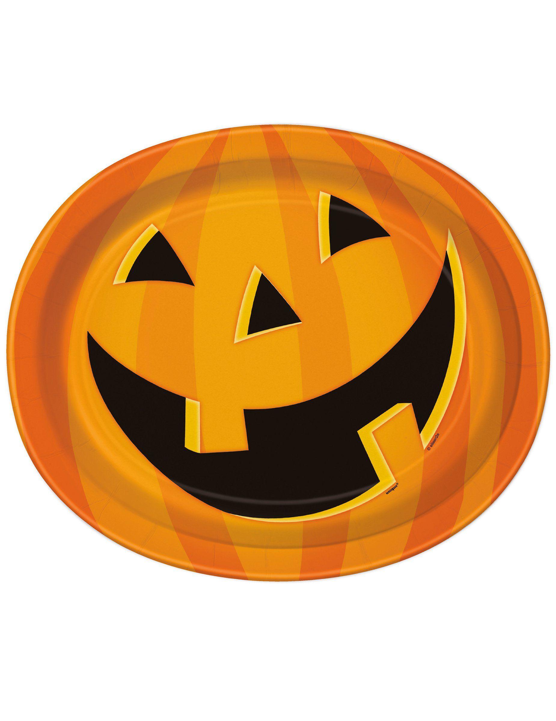 8 Platos grandes calabaza sonriente Halloween 30x25 cm