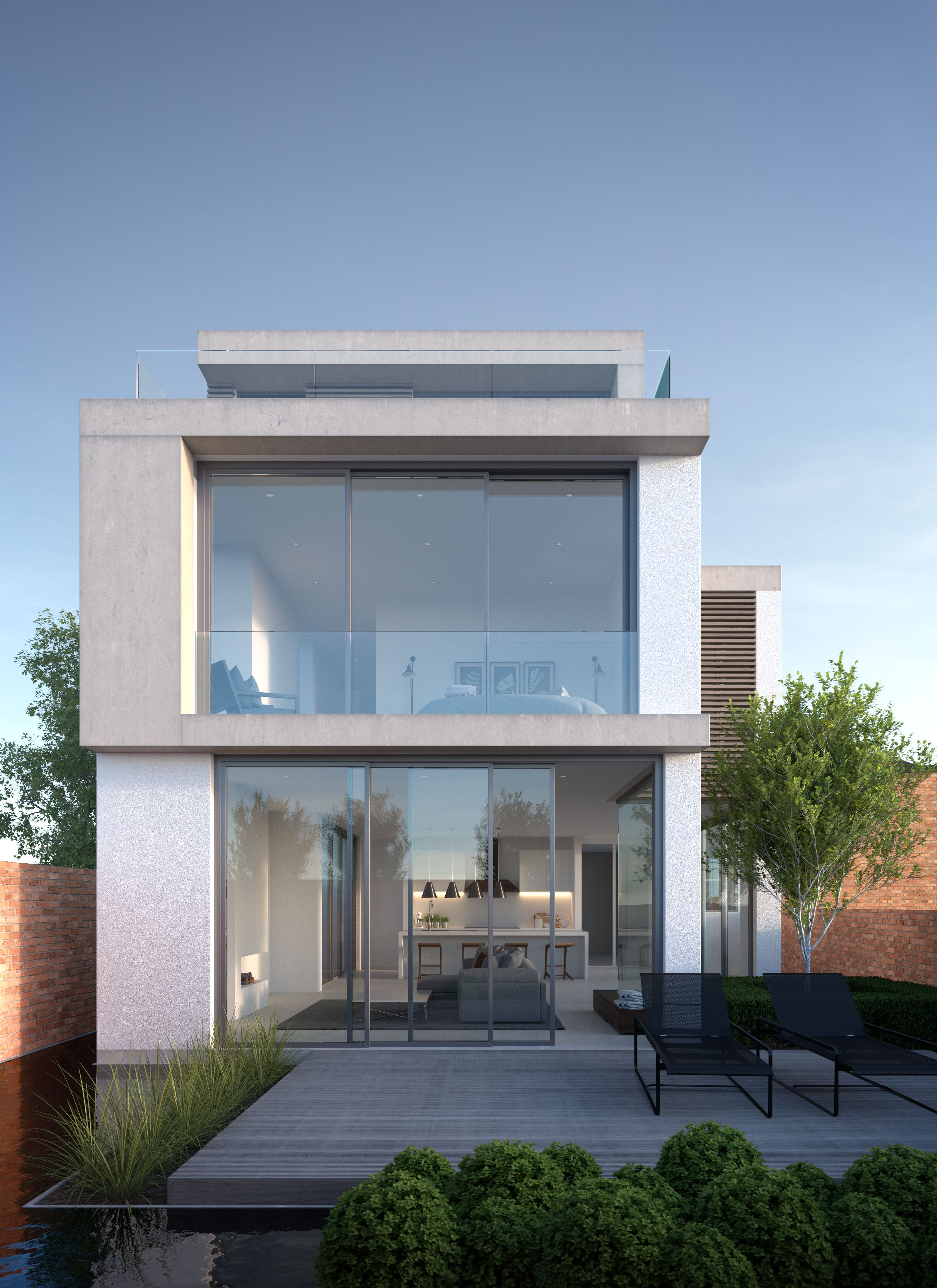 Annabelle tugby architects visual by matt clayton contemporary new build house 3 storey white render and concrete