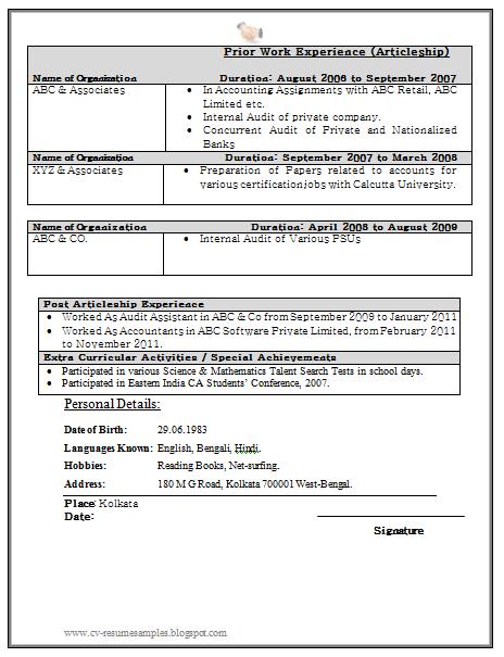 Curriculum Vitae Samples Resume For Fresher Chartered Accountant 2 Resume Tips Sample Resume Resume