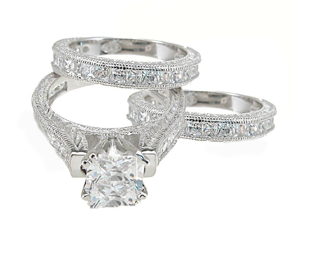 6ct Antique Estate Style 3 Piece Wedding Ring Set Sterling Silver