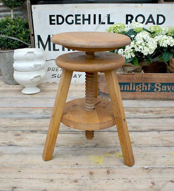 Art Stool / Adjustable Stool / Wooden Stool / Vintage Stool /