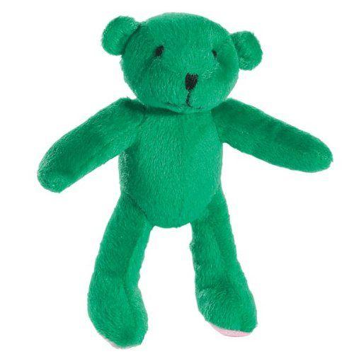 Zanies Plush Teensy Teddy Dog Toy 7 Inch Green Zanies Toys