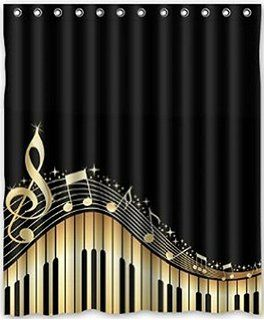 musical notes with piano waterproof fabric polyester bathroom shower curtain with 12 hooks 60 - Musical Shower Curtains