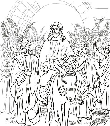 jesus entry into jerusalem coloring page | jesus