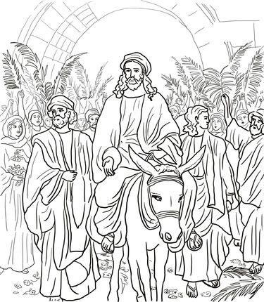 Jesus Entry Into Jerusalem coloring page | de 12 stadia | Pinterest ...