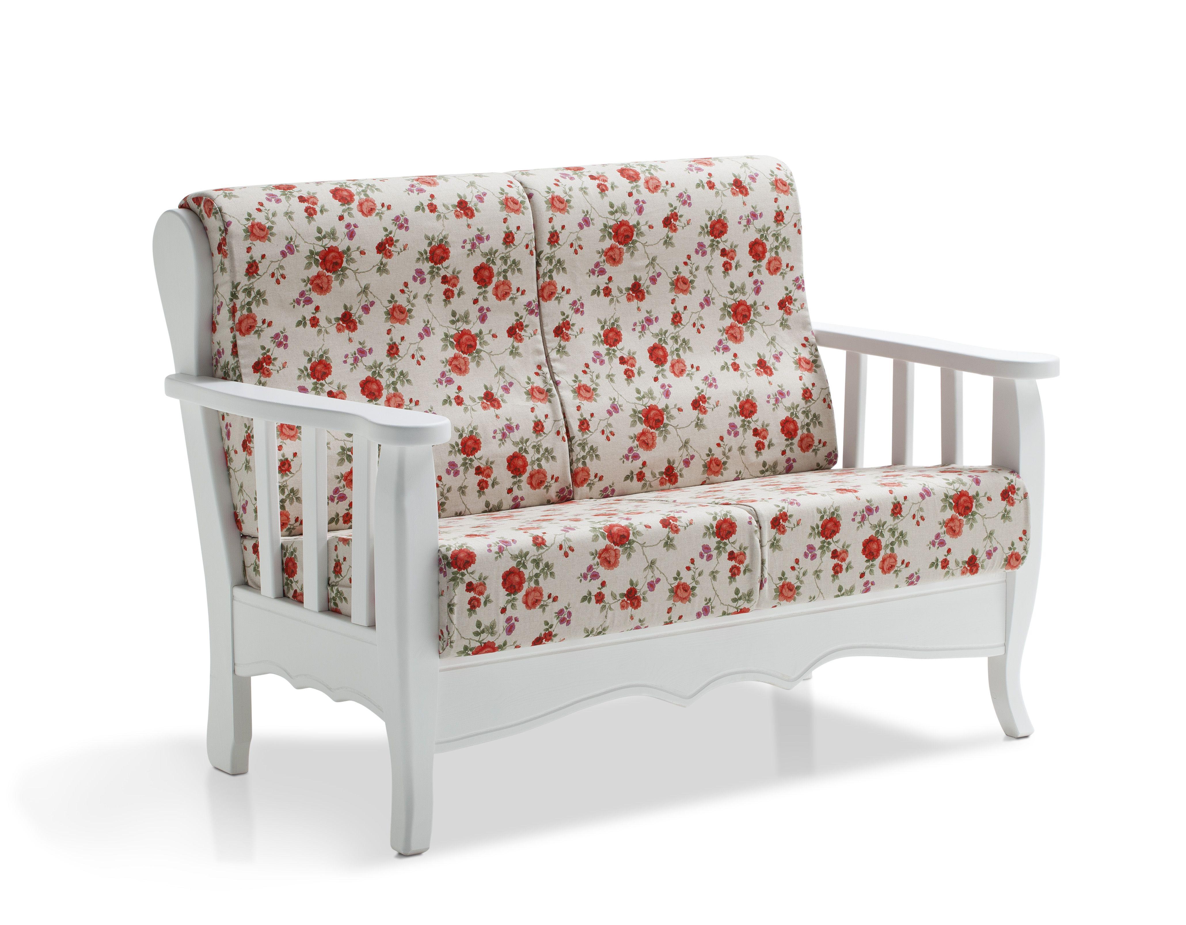 Divano bianco 2 posti in pino massello con cuscini