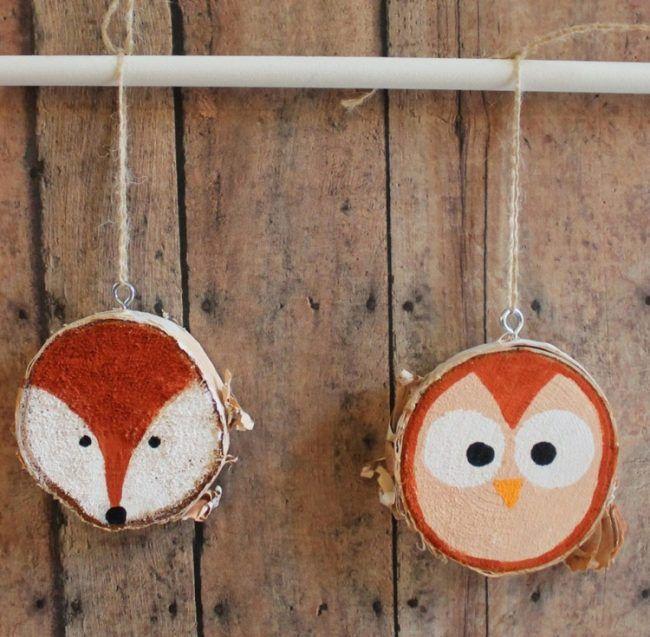 Deko Mit Holzscheiben Bemalen Tiere Fuchs Eule Einfach Kinder Fa
