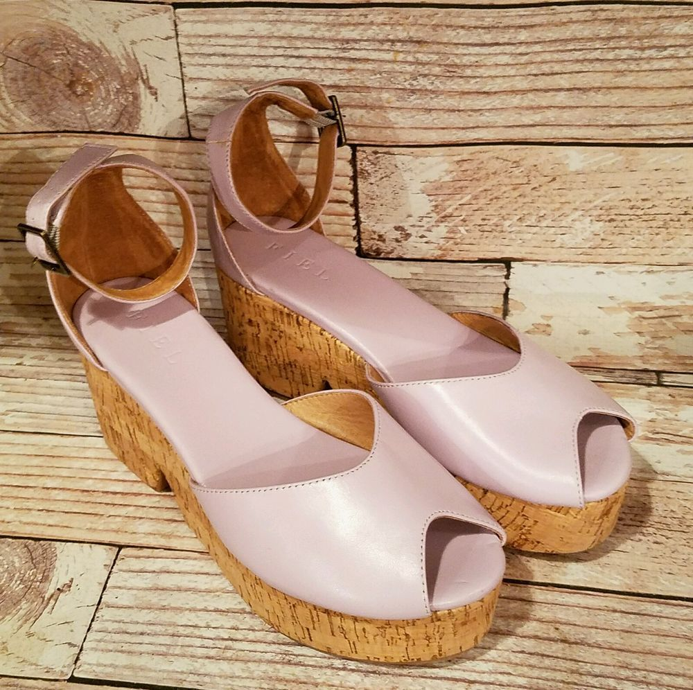 "Very pretty light purple ankle strap shoes by FIEL. 3"""