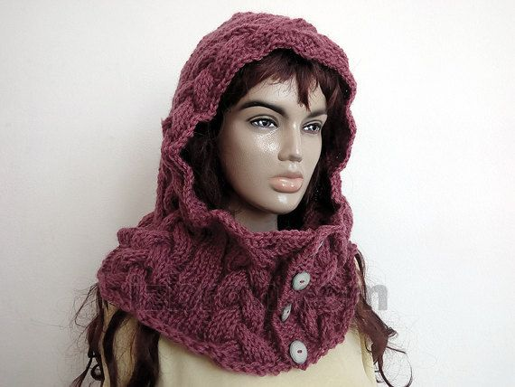 Hooded scarf, Hoodie, Knit hood cowl, Button cowl Knit collar Cable ...