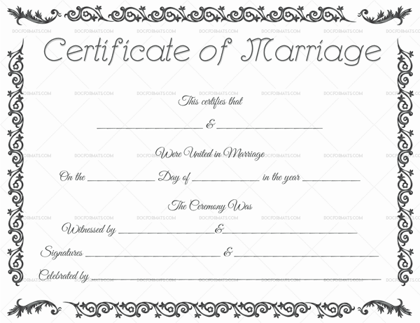 Marriage Certificate Template   Editable For Word  Pdf