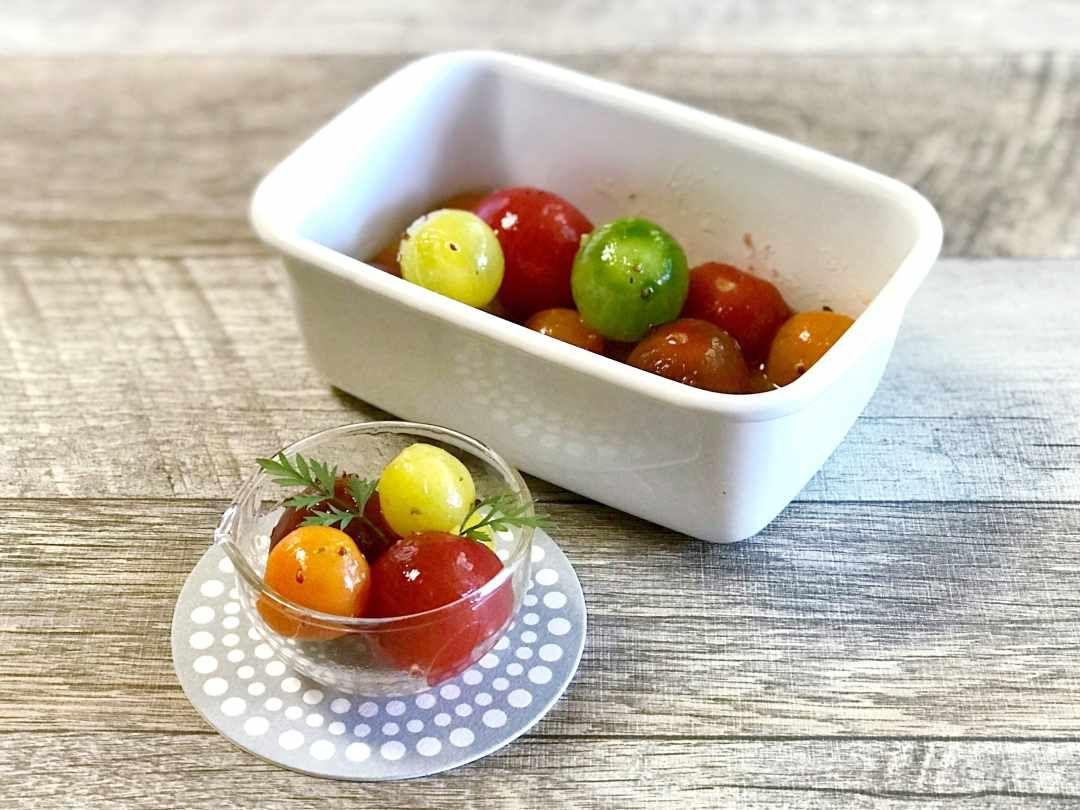 作り置きにもおすすめ カラフルトマトのマリネ macaroni レシピ 料理 レシピ トマトマリネ