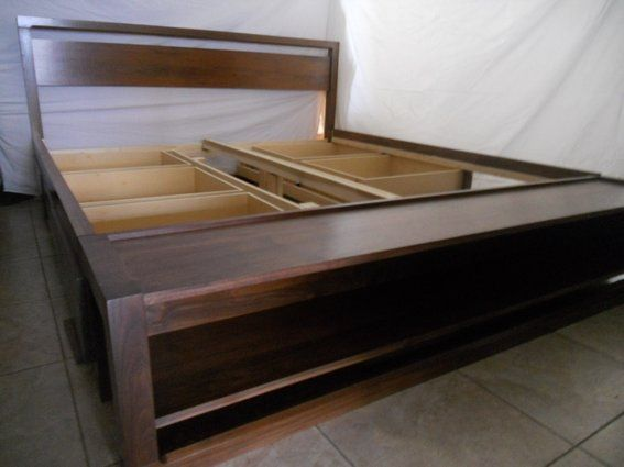 Custom Made King Size Bed Frame With Storage And Bench On Foot Board