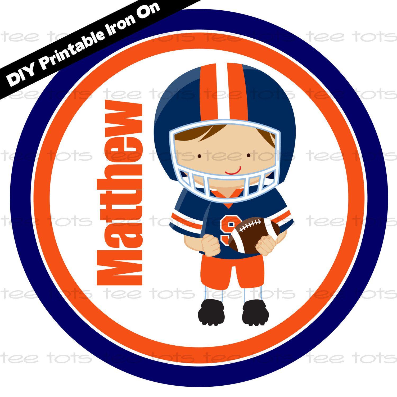 Navy and Orange Football Player Auburn DIY by