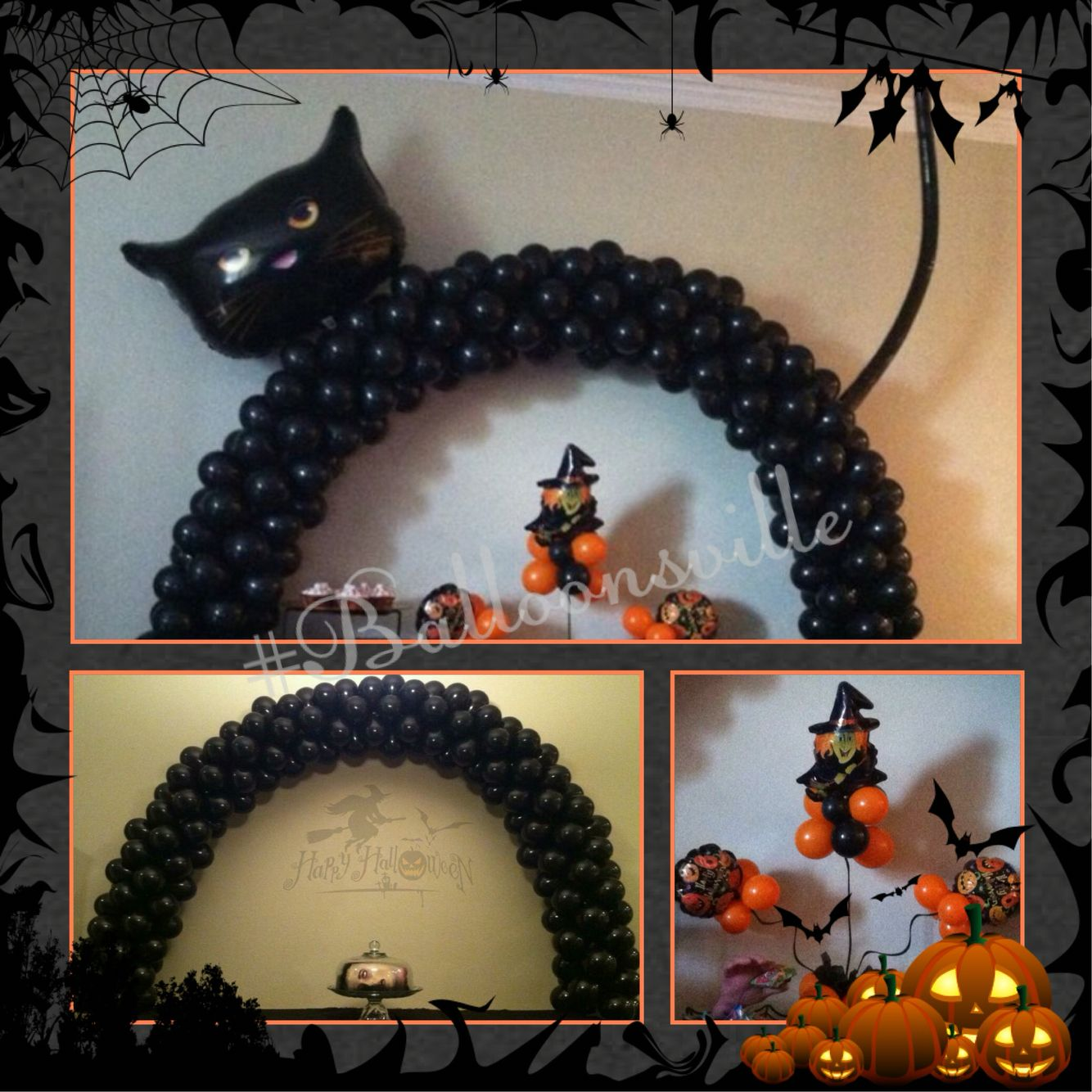 Halloween inspired balloon decor black cat table top for Balloon decoration for halloween