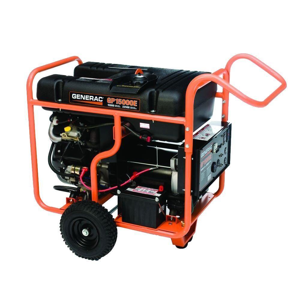 Generac 15 000 Watt Gasoline Powered Portable Generator With Ohvi Engine 5734 The Home Depot Portable Generator Gas Powered Generator Portable Electric Generator