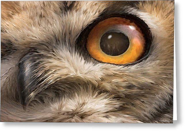 Wild Eyes - Owl Greeting Card by Carol Cavalaris