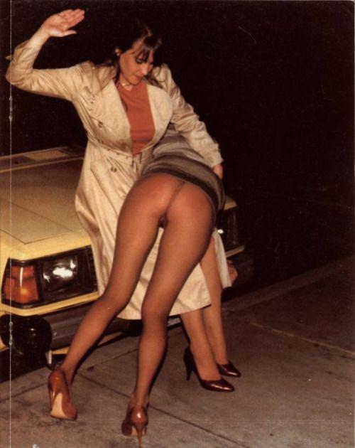 Women wearing pantyhose being spanked
