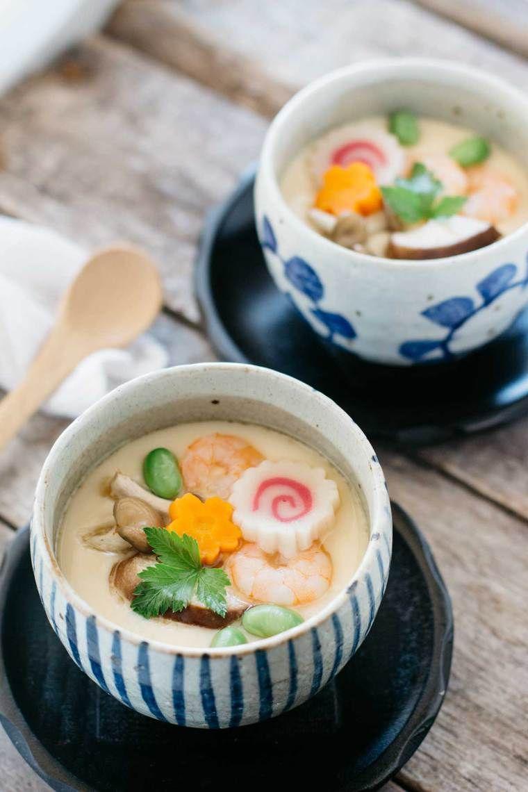 Japanese savoury egg custard. (Chawanmushi 茶わん蒸し)