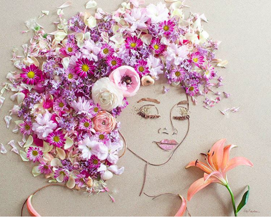 Delicate Portraits entirely made of Plants and Flowers