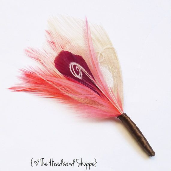 Ivory Coral Burgandy and Chocolate Peacock by TheHeadbandShoppe, $14.00