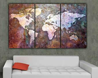 Globe tan map world map canvas vintage map set large wall art world map art on canvas multi color 3 panel large canvas set world gumiabroncs Images