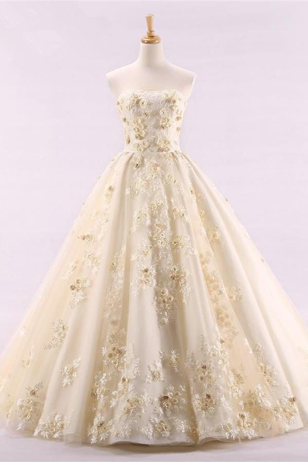 2d5787f6fb8 Classy Floor Length Lace Up Strapless Ball Gown Quinceanera Dresses Z1843