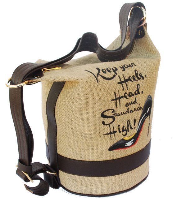Parvares..bag - Shoe Sack - borsa realizzata in tessuto juta e pelle - Made in Italy- borsa donna - sacca dipinta a mano