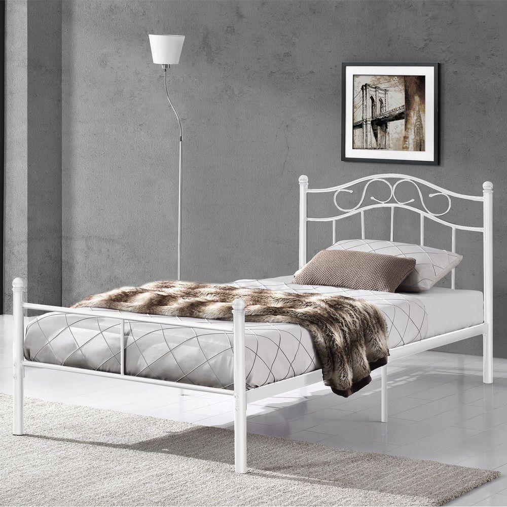 En Casa Metallbett 90x200 Weiss Bettgestell Bett Schlafzimmer