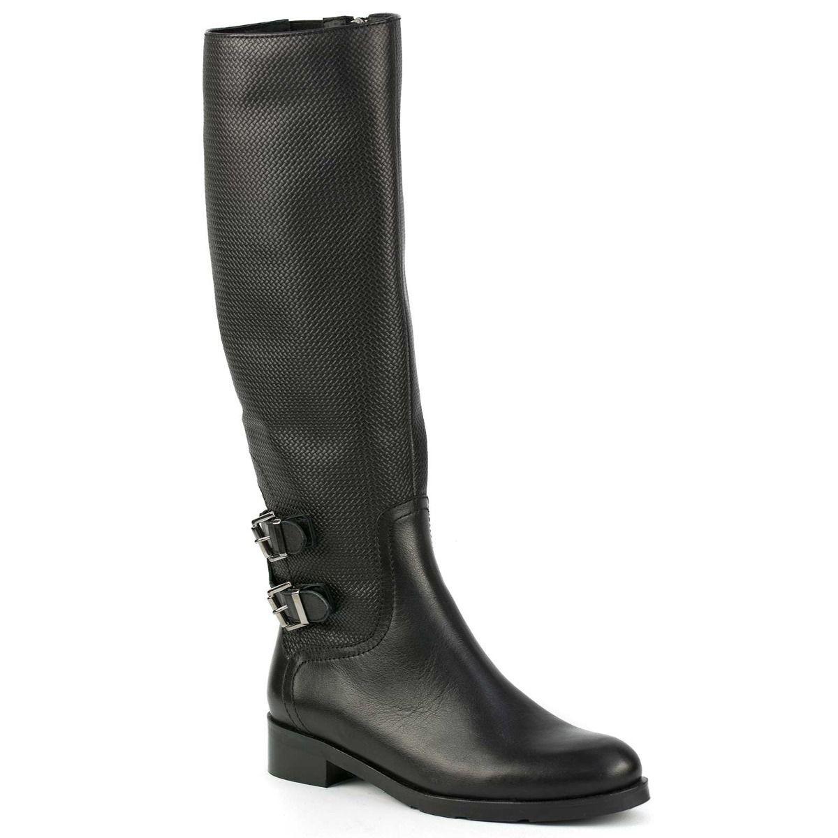 6d957442345 Μαύρη δερμάτινη μπότα ιππασίας με αγκράφες BR27-L14 < Δερμάτινες Μπότες |  MIGATO