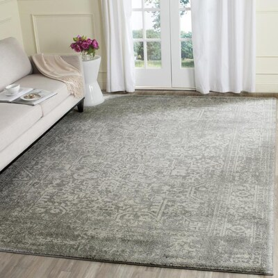 Safavieh Evoke Isla 10 X 14 Silver Ivory Indoor Floral Botanical Vintage Area Rug Lowes Com In 2020 Distressed Rugs Rugs Area Rugs