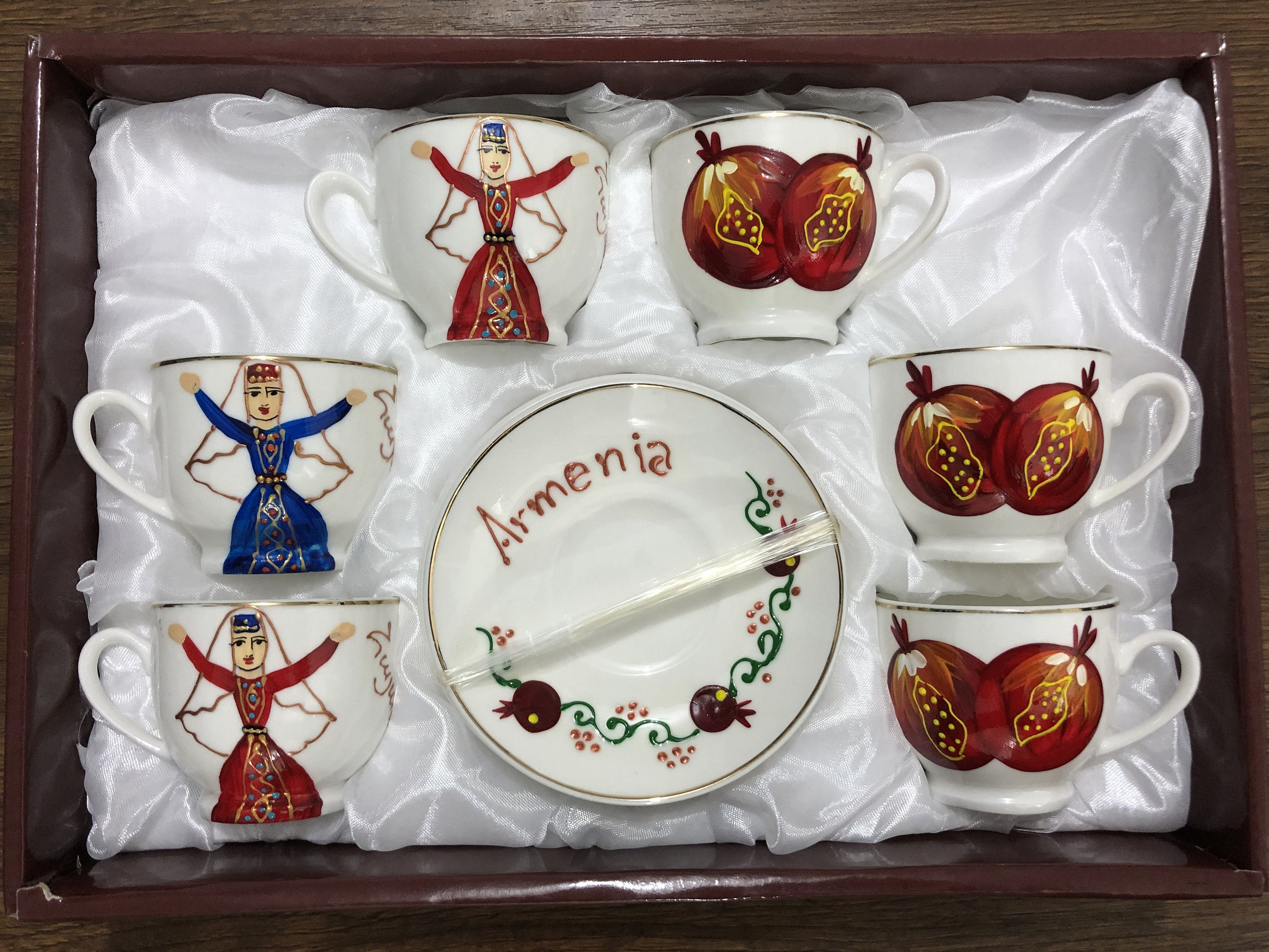 Armenian Tea and Coffe Cups, Ceramic Cups Armenian style, Tea Bowl, Armenian Gifts, National Armenian Dancer and Pomegranate, 6 Cups
