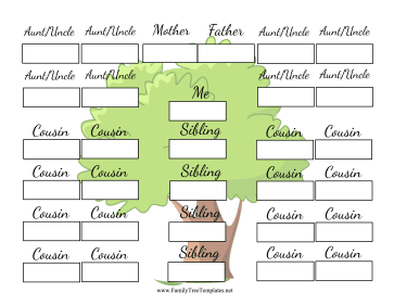 Great For Large Families This Two Generation Family Tree Includes Cousins Siblings Aunts And Uncles Family Tree Printable Family Tree Template Family Tree