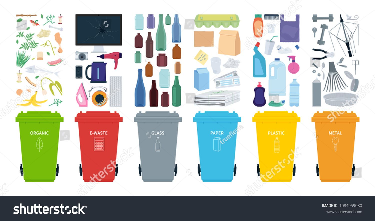 Rubbish Bins For Recycling Different Types Of Waste Sort Plastic Organic E Waste Metal Glass Paper Vector I Ad In 2020 Types Of Waste Rubbish Bin Recycling