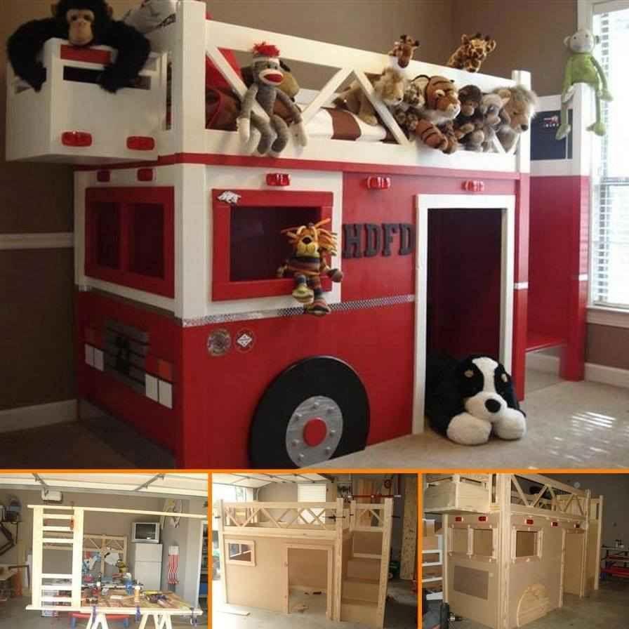Loft bed ideas diy  DIY Fire Truck Bunk Bed  Boys  Pinterest  Fire trucks Bunk bed