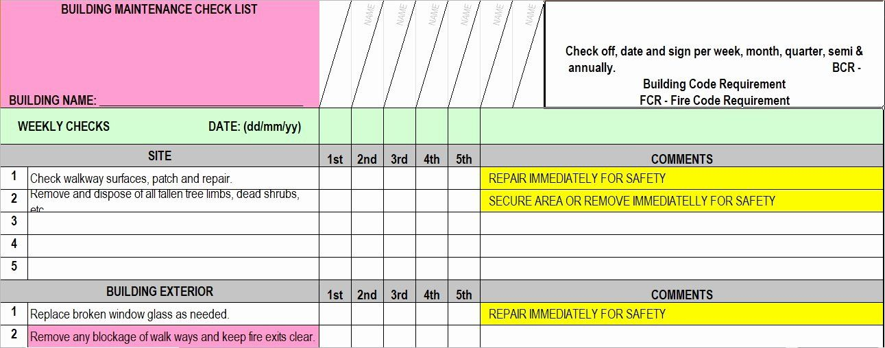 Building Maintenance Schedule Template Best Of Facility