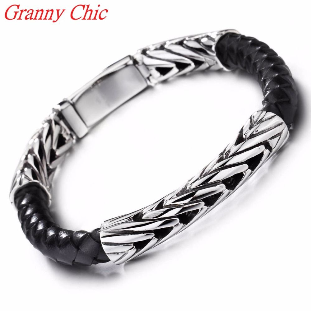 Granny chic top quality genuine leather bracelet men stainless steel